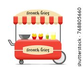 french fries street food cart.... | Shutterstock . vector #768805660