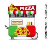 pizza street food cart.... | Shutterstock . vector #768806260