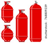 vector red gas tank icon set... | Shutterstock .eps vector #768809239