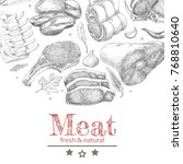 vector background with meat... | Shutterstock .eps vector #768810640