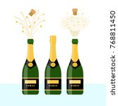 several bottles of champagne... | Shutterstock .eps vector #768811450