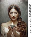 spiritual female portrait ... | Shutterstock . vector #768820180