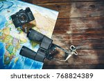 accessories for travel vintage... | Shutterstock . vector #768824389