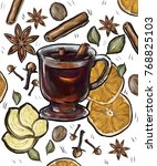 mulled wine recipe  spices | Shutterstock . vector #768825103