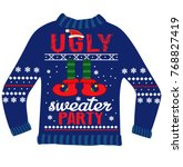 ugly sweater party elf | Shutterstock .eps vector #768827419