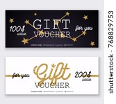 voucher template with gold gift ... | Shutterstock .eps vector #768829753