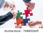 group of business people puting ... | Shutterstock . vector #768832669