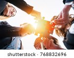 group of business people puting ... | Shutterstock . vector #768832696