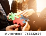 group of business people puting ... | Shutterstock . vector #768832699