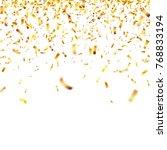 christmas golden confetti.... | Shutterstock .eps vector #768833194