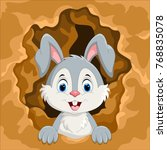 cute rabbit out of the hole  | Shutterstock . vector #768835078