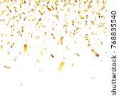 christmas golden confetti.... | Shutterstock .eps vector #768835540
