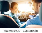 in the car  her family also... | Shutterstock . vector #768838588