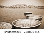 wicker boats on the river bank... | Shutterstock . vector #768839416