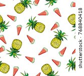 seamless pattern with... | Shutterstock . vector #768840418