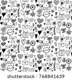 seamless pattern with doodle... | Shutterstock .eps vector #768841639