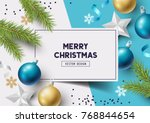 christmas composition with fir... | Shutterstock .eps vector #768844654