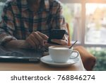 work from cafe. casual business ... | Shutterstock . vector #768846274