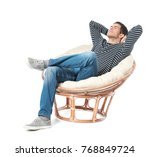happy young man relaxing on... | Shutterstock . vector #768849724