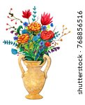 Vase With A Bouquet In The...
