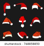 santa claus red hat isolated... | Shutterstock . vector #768858850