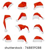 set of red santa claus hats.... | Shutterstock . vector #768859288