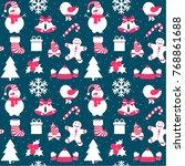 christmas pattern. vector... | Shutterstock .eps vector #768861688
