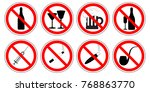 set of prohibition signs of... | Shutterstock .eps vector #768863770