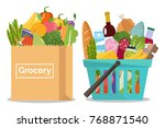 grocery in a shopping basket... | Shutterstock .eps vector #768871540