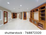 spacious media room with large...   Shutterstock . vector #768872320