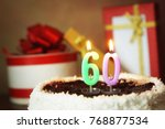 sixty years birthday. cake with ... | Shutterstock . vector #768877534