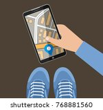 hand holds the smartphone with... | Shutterstock .eps vector #768881560