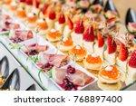 gourmet appetizers  caviar ... | Shutterstock . vector #768897400