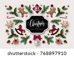 christmas greeting card with ... | Shutterstock .eps vector #768897910
