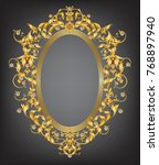 diamond and gold frame with... | Shutterstock .eps vector #768897940