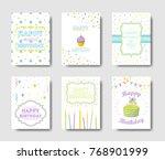 happy birthday cards set.... | Shutterstock . vector #768901999