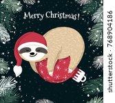 Cute Baby Sloth Sleeping On The ...
