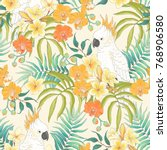 seamless pattern with flowers... | Shutterstock .eps vector #768906580