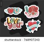 set of contemporary girly love...   Shutterstock .eps vector #768907243