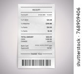 realistic paper shop receipt... | Shutterstock .eps vector #768909406
