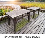 picnic table in a picturesque... | Shutterstock . vector #768910228