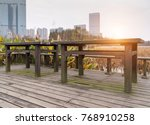 picnic table in a picturesque... | Shutterstock . vector #768910258