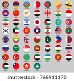 round flags of asia | Shutterstock .eps vector #768911170