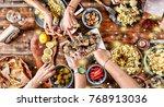christmas dinner. falling... | Shutterstock . vector #768913036