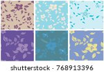 vector seamless pattern flowers ... | Shutterstock .eps vector #768913396