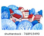 urban landscape with red roof... | Shutterstock . vector #768915490