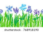 Wax Crayon Blue Flowers With...