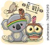 cute cartoon tribal koala and... | Shutterstock .eps vector #768924193