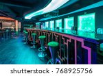 bar counter and stools in... | Shutterstock . vector #768925756