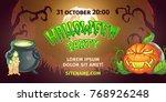 happy halloween banner poster ... | Shutterstock .eps vector #768926248